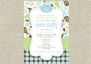 Blue Green Brown Baby Shower Invitations Mod Baby Boy Shower Invitation Paisley Brown Blue by