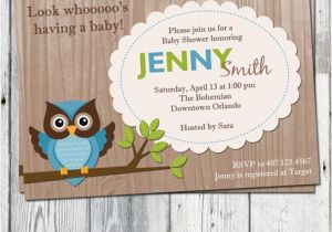 Blue Green Brown Baby Shower Invitations Owl Baby Shower Invitations Blue Green and Brown Wood