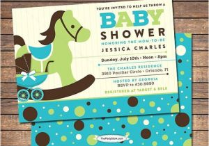Blue Green Brown Baby Shower Invitations Rocking Horse Baby Shower Invitation Blue Brown Green