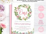 Boho Birthday Invitation Template Free Floral First Birthday Invitation Boho Invitation Girl 1st