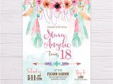 Boho Birthday Invitation Template Free Pink Green Bohemian Invitation Flearn Ph