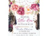 Boho Chic Birthday Invitation Template Boho Floral Dreamcatcher Watercolor First Birthday Card