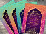 Bollywood theme Party Invitation Card Arabian Nights Bollywood theme Birthday Invitation Card