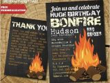 Bonfire Party Invitations Free Huge Birthday Fire Invitation Printable Digital Invitation