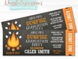 Bonfire Party Invitations Free Printable Bonfire Chalkboard Ticket Graduation Invitation