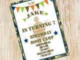 Boot Camp Party Invitations Boot Camp Party Invitation Army Birthday Invitation Digial