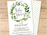 Botanical Baby Shower Invitations Baby Shower Invitation Watercolor Greenery Baby Shower