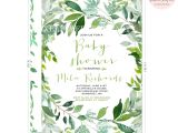 Botanical Baby Shower Invitations Botanical Baby Shower Invitation Green Leaf Baby Shower