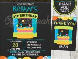 Bounce Party Invites Bounce House Party Invitation for Boys Personalized D6