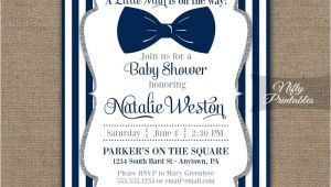 Bow Tie Baby Shower Invites Bow Tie Baby Shower Invitations Printable Navy Blue & Silver