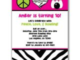 Bowling Party Invitations for Kids Items Similar to 15 Peace Love and Bowling Invitations for
