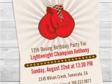 Boxing Party Invitations Boxing Gloves Printable Birthday Party Invitation