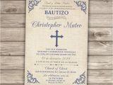 Boy Baptism Invitations In Spanish Spanish Printable Baptism Christening Invitations Burlap Cross