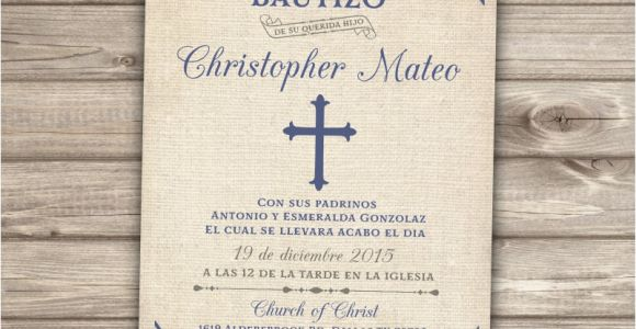 Boy Baptism Invitations In Spanish Spanish Printable Baptism Christening Invitations Burlap Cross