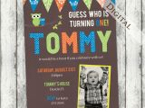 Boy Owl First Birthday Invitations Items Similar to Owl First Birthday Invitation with Photo