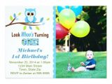 Boy Owl First Birthday Invitations Owl Boy 1st Birthday Invitation 5×7 Photo Card Zazzle