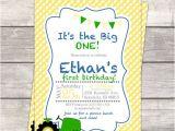 Boy Tractor Birthday Invitations Boys 1st Birthday Birthday Party Invitation In Yellow