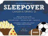 Boys Slumber Party Invitations Boys Night Sports and Snacks Sleepover Party Invite Kids