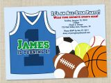 Boys Sports Birthday Invitations Sports Birthday Party Basketball theme Birthday