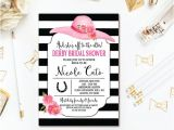 Bridal Shower Hat Invitations Derby Bridal Shower Invitation Big Hat Floral Wedding