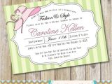Bridal Shower Hat Invitations Pink and Green Garden Hat Party Bridal Shower Invitation