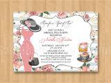Bridal Shower Hat Invitations Spot Of Tea Fancy Hat Dress Birthday Bridal Shower