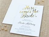"Bridal Shower Invitation Fonts ""here Es the Bride"" Calligraphy Bridal Shower Invitation"