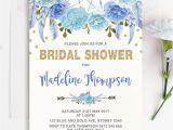 Bridal Shower Invitations Australia Boho Blue Gold Floral Bridal Shower Invitation Hens Night