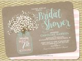 Bridal Shower Invitations Mason Jar theme Printable Bridal Shower Invitations