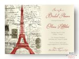 Bridal Shower Invitations Paris theme Red Paris themed Bridal Shower Invitation Printable by
