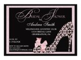 "Bridal Shower Invitations Shoes Pink Damask Shoe Bridal Shower Invitation 5"" X 7"