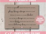Bridal Shower Invitations with Recipe Cards Wording Bridal Shower Invitation Bridal Shower Recipe Card for Bride