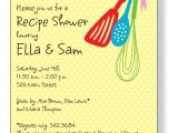 Bridal Shower Invitations with Recipe Cards Wording Kitchen Corner