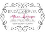 Bridal Shower Invite Text Bridal Shower Invitation Gray and Pink Bride Shower