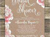 Bridal Shower Luncheon Invitation Wording Printed Bridal Shower Invitation Romantic Pink Peony