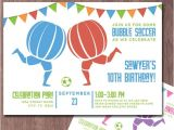 Bubble soccer Party Invitations Bubble soccer Invitation Birthday Party Knockerball Invite