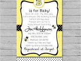 Bumble Bee Baby Shower Invitation Diy Printable Bumble Bee Baby Shower Invitation Diy Custom by