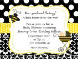 Bumble Bee themed Baby Shower Invitations Bumble Bee Baby Shower Ideas