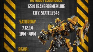 Bumblebee Transformer Birthday Invitations Transformers Bumblebee Digital Birthday Invitation