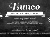 Bunco Birthday Party Invitations Chalkboard Bunco Game Night Invitation
