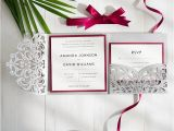 Burgundy and Gray Wedding Invitations Burgundy and Gray Elegant Laser Cut Pocket Wedding