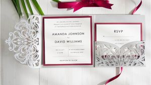 Burgundy and Gray Wedding Invitations Burgundy and Gray Elegant Laser Cut Pocket Wedding