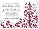 Burgundy and Gray Wedding Invitations Burgundy Gray Abstract Floral Wedding Invitation