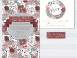 Burgundy and Gray Wedding Invitations Floral Pattern Wedding Invitations Marcala Wine Wedding