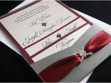 Burgundy and Gray Wedding Invitations Lisa Z 39 S Burgundy and Gray Custom Pocket Wedding