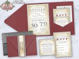 Burgundy and Grey Wedding Invitations Burgundy Red orange and Silver Gray Metallic Damask