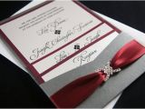 Burgundy and Grey Wedding Invitations Lisa Z 39 S Burgundy and Gray Custom Pocket Wedding