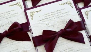 Burgundy and Ivory Wedding Invitations Jennifer Burgundy and Ivory Lace Wedding Invitation