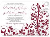 Burgundy and White Wedding Invitations Burgundy Gray Abstract Floral Wedding Invitation