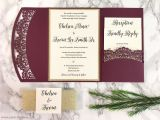 Burgundy themed Wedding Invitations Burgundy and Gold Glitter Laser Cut Pocket Wedding Invitation